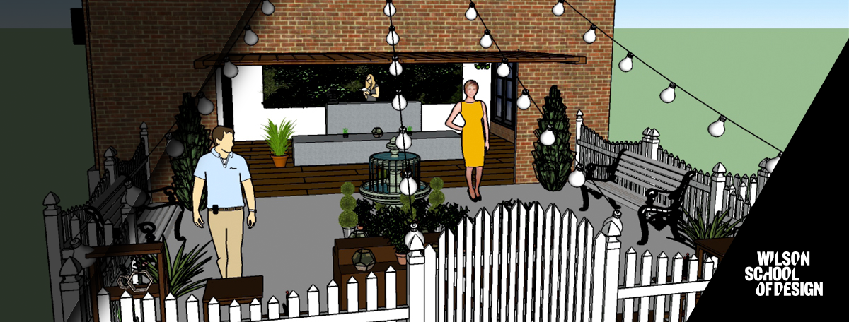 Sketchup being used to design an outdoor patio layout.